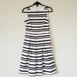 WHBM fit and flare black and white striped dress